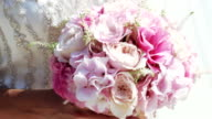 Bride with wedding bouquet video