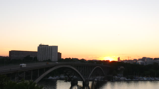 Bridge and cityscape at sunset video