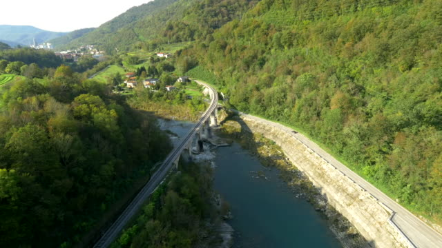 AERIAL Bridge And Road Along The River video