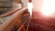 bridge building aerial view. modern urban architecture video