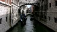 Bridge of Sighs, Venice, with gondolas video