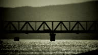 Bridge on Danube river - retro, 1950's old camera footage video