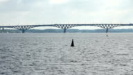 Bridge on the Volga river between the cities of Saratov and Engels, the video shooting was conducted from the boat video