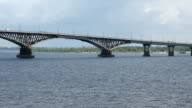 Bridge on the Volga river between the cities of Saratov and Engels. Passenger ship. Russia video
