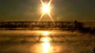 HD. Bridge over Lake. Sunrise. Fog. video