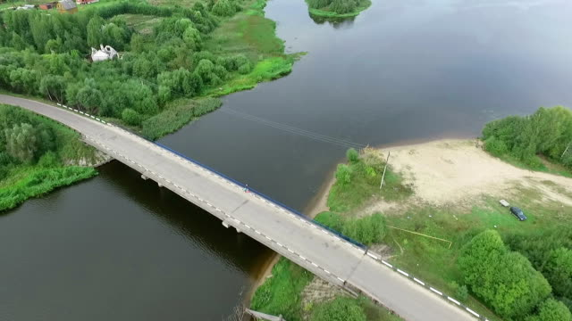 Bridge over river erial view video