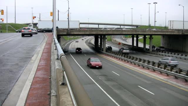 Bridge overpass and traffic. video