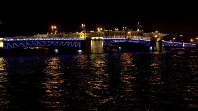 Bridge with illumination over the river at night video
