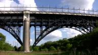 Bridge with subway train. video