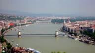 Bridges across Danube river in sunny day, Budapest video