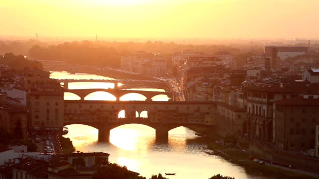 Bridges of Florence at sunset, Italy video