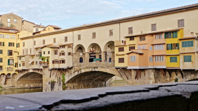 Bridges of Florence over the Arno River at sunset, Italy video