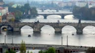 Bridges of Prague, European architecture, tourists on Charles. Beautiful shot of Europe, culture and landscapes. Traveling sightseeing, tourist views landmarks of Czech Republic. World travel, west European trip cityscape, outdoor shot video