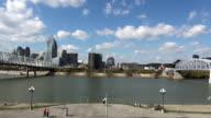 Bridges over Ohio River Cincinnati skyline  - CINCINNATI, OHIO USA video