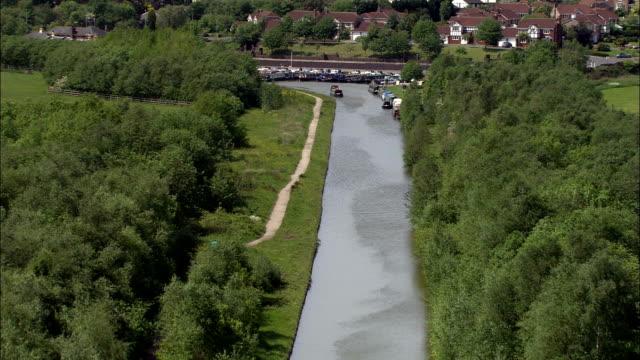 Bridgewater Canal  - Aerial View - England, Warrington, Lymm, United Kingdom video