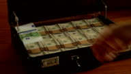 Briefcase full of  money, euros being tossed in video