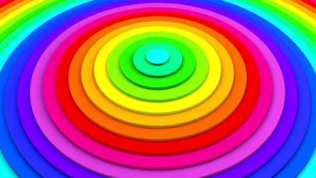 Bright colorful concentric circles 3D animation seamless loop video