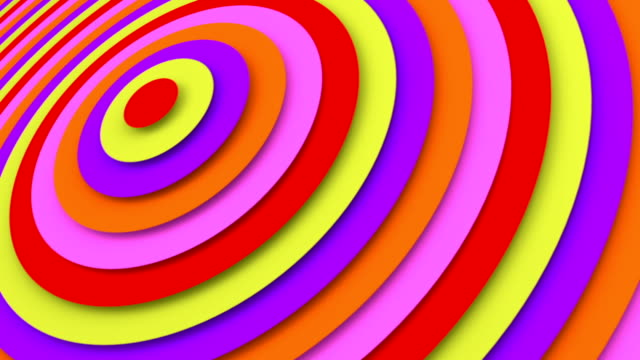 Bright concentric circles 3D animation seamless loop video