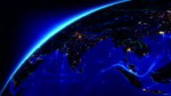 Bright connections moving around Earth. Asia, with city lights. video