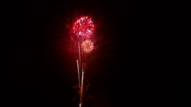 Bright fireworks at night video