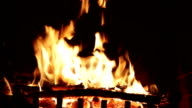 Bright flame of fire in an ancient fireplace video