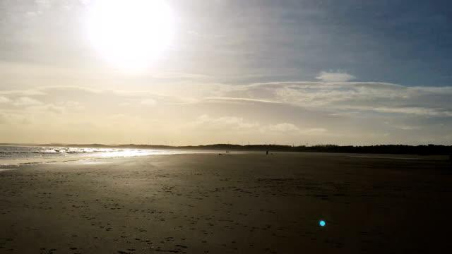 Bright Glaring Sun shines, deserted beach, gentle waves on shore video
