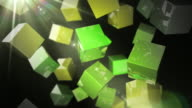 Bright Glossy Cubes Loop - Green Streak (Full HD) video