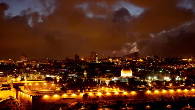 Bright Jerusalem old city lights over Al Aqsa video