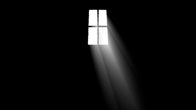 Bright Light Rays Get Inside a Dark Room Through a Window In a Cartoon Style video