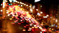Bright lights of night traffic of the avenue in Moscow video
