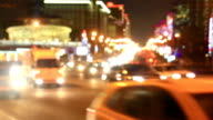 Bright lights of night traffic of the New Arbat avenue in Moscow video