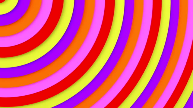 Bright multicolor concentric lines 3D animation seamless loop video