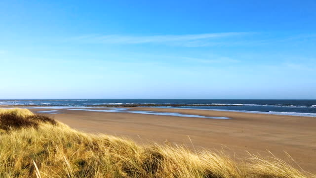 Bright Summer's Day at the seaside, sand, sea and surf video