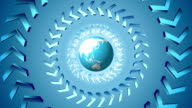 Bright tech arrows and globe rotation design video