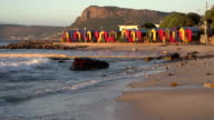 Brightly coloured changing rooms and tidal pool,St. James beach,Cape Town video