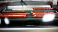 Brightly lit hot dogs and sausages rolling on heated metal video
