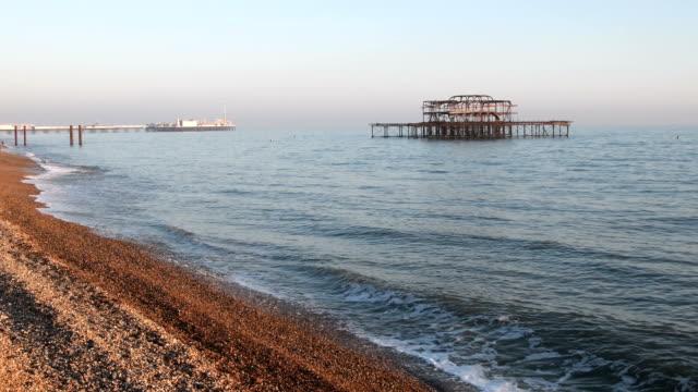 Brighton West Pier at sunset video