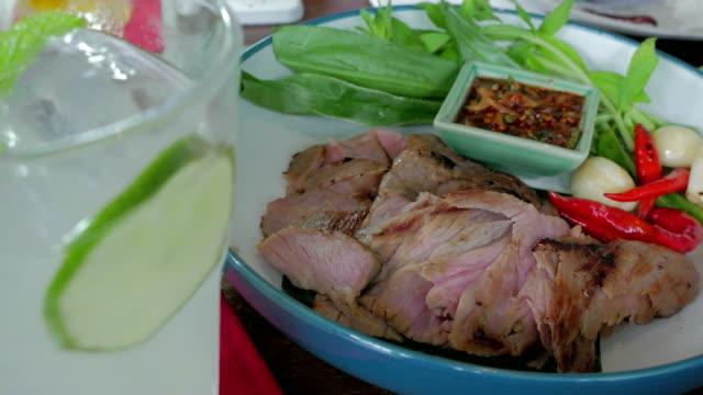 Brisket Beef steak grilled with Thai Spicy Sauce video