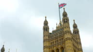 Bristish flag on Westminster Palace Victoria Tower, London City video