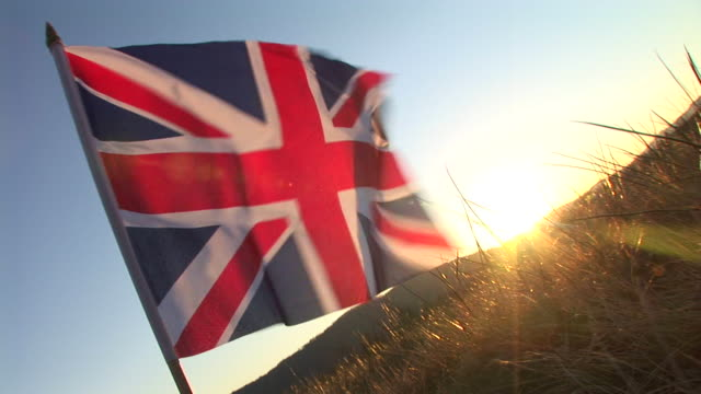 HD: British flag in the sunset video