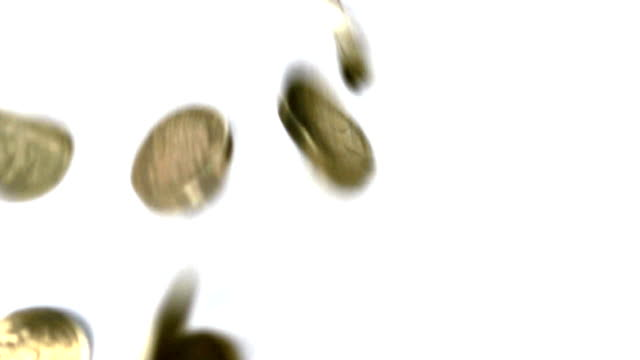British pound coins falling video
