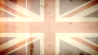 Brittish Flag - Grungy Retro Old Film Loop with Audio video