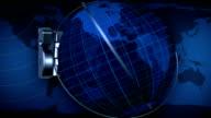 Broadcast news earth globe title animation - Blue video