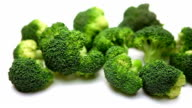 Broccoli isolated on white background video