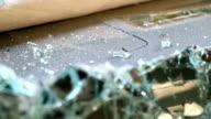 Broken car windshield. Accident of car. Selective focus. video