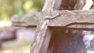 Broken cross in cemetery video