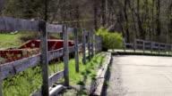 Broken damaged split rail fencing on the border of a parking lot near a farmland video