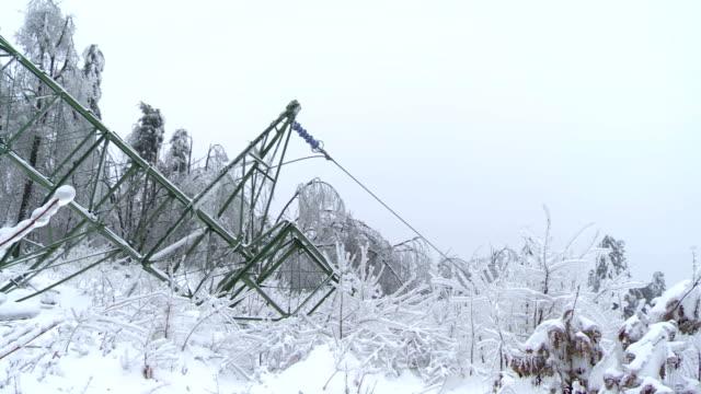 Broken Electricity Pylon With Steel Frame video