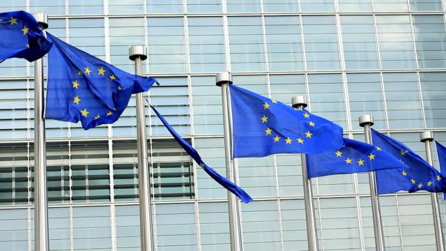 Broken EU flag as a symbol for the economic crisis. video