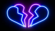 Broken Heart Neon Sign Animating video